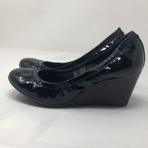 Tory Burch Patent Leather Black Wedges